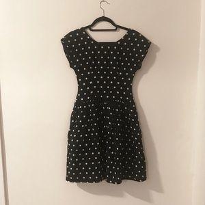 80s Navy polka dot dress